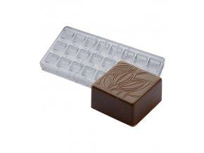 16106 forma na pralinky textura kakaovy bob 9g 3x8 tvaru forma