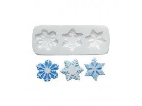 10268 forma silikonova 3d 3 snehove vlocky 3x3 5 cm
