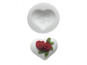 10475 forma silikonova 3d srdce s ruzi 5 8x5 2cm