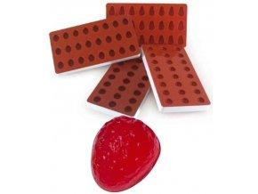 10946 forma silikonova na zelatinu jahoda 3x8 tvaru forma