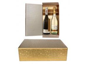 5813 krabice darkova na 2 lahve 340x180 v 95mm zlata s kruhy 1 ks krabicka