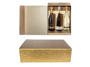 5819 krabice darkova na 3 lahve 340x270 v 95mm zlata s kruhy 1 ks krabicka
