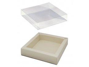 6086 krabicka na pralinky papir obal plast 120x120 v 32mm slonova bridlice 10 ks bal