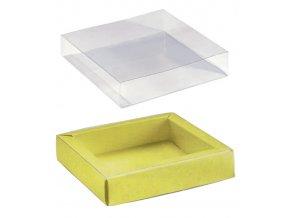 6092 krabicka na pralinky papir obal plast 120x120 v 32mm zluta s kruhy 10 ks bal
