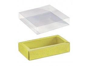 6098 krabicka na pralinky papir obal plast 120x60 v 32mm zluta s kruhy 100 ks kart