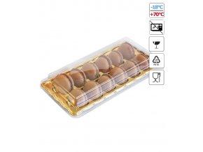 6197 krabicka plast na 12 makronek zlate dno 25 ks bal