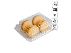 6215 krabicka plast na 4 makronky pruhledna 25 ks bal