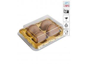 6218 krabicka plast na 4 makronky zlate dno 25 ks bal
