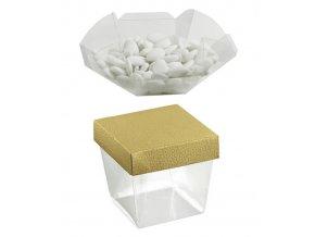 6263 krabicka svatebni plast 75x75 v 90 mm viko zlata kuze 10 ks bal