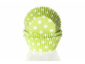 Papírový košíček na muffiny zelený puntíkovaný 50ks