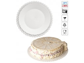 7064 podlozka pod dort s krajkou plast prum 22cm bila 5 kg bal cca84ks