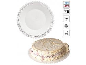 7070 podlozka pod dort s krajkou plast prum 25cm bila 3 ks bal