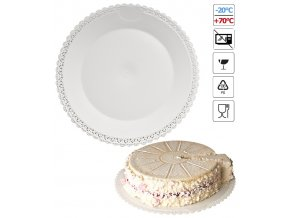 7076 podlozka pod dort s krajkou plast prum 28cm bila 3 ks bal