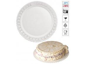 7100 podlozka pod dort s krajkou plast prum 38cm bila 3 ks bal