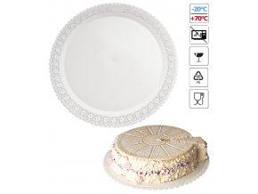 7106 podlozka pod dort s krajkou plast prum 40cm bila 3 ks bal