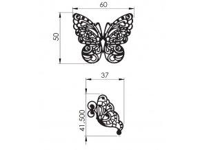12761 podlozka silikonova krajka dekor jednotlive motyl 8x40cm