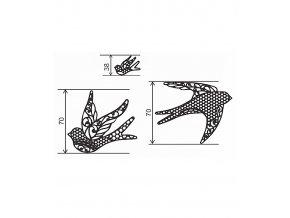 12764 podlozka silikonova krajka dekor jednotlive ptaci 8x40 cm