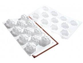 Silikonová forma na dortíky – sněhové vločky - Silikomart