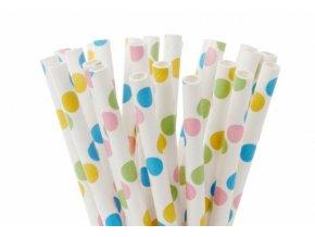 Papírové tyčinky na cake pop puntíkované 20ks 15cm - House of Marie