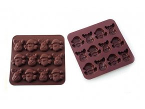 Silikonová forma na čokoládu sob a santa - Silikomart