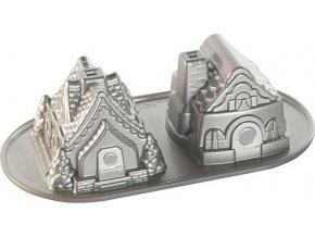 NW Forma na bábovku Perníkové domky 5cup stříbrná 86748 Nordic Ware