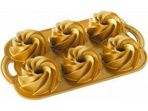 NW Minibábovky Heritage plát se 6 formičkami zlatá 88077 Nordic Ware