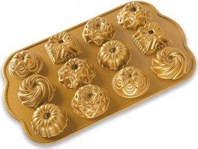 NW Minibábovky plát s 12 formičkami zlatá 85677 Nordic Ware