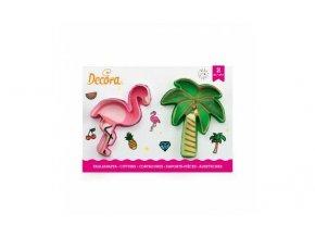 Plameňák a palma plastové vykrajovátko set 2 ks - Decora