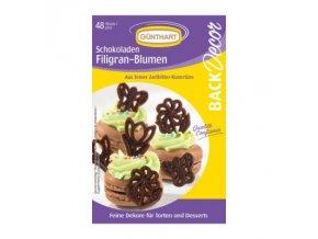 Čokoládové filigrány květiny 48 ks