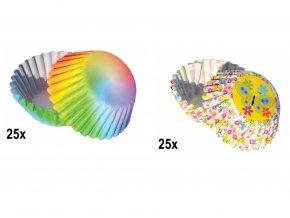 50 ks MINI košíčků | RAINBOW AND FLOWER
