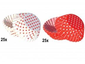 50 ks MINI košíčků | RED AND WHITE LOVE