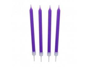 Barevné svíčky na dort fialové 10 ks