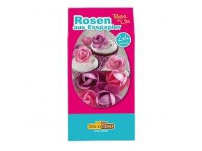 DecoCino jedlý papír - růže růžové / fialové 2 x 4ks