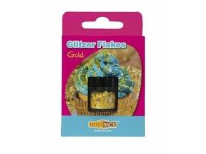 DecoCino jedlé třpytky - vločky - zlaté 2,5g