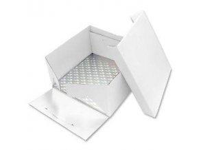Podložka dortová stříbrná čtverec 22,8cm x 22,8cm + dortová krabice  s víkem - PME