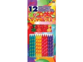 12ks narozeninových svíček se stojánky barevné - Alvarak