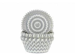 Košíčky na muffiny CHEVRON stříbrno-šedé 50 ks