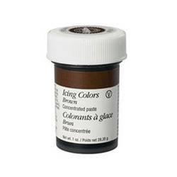 Gelová barva Wilton - HNĚDÁ Složení: Cukr, kukuřičný sirup, glycerin E422, voda, modifikovaný škrob E1442, emulgátor agar E406, kyselina citronová…