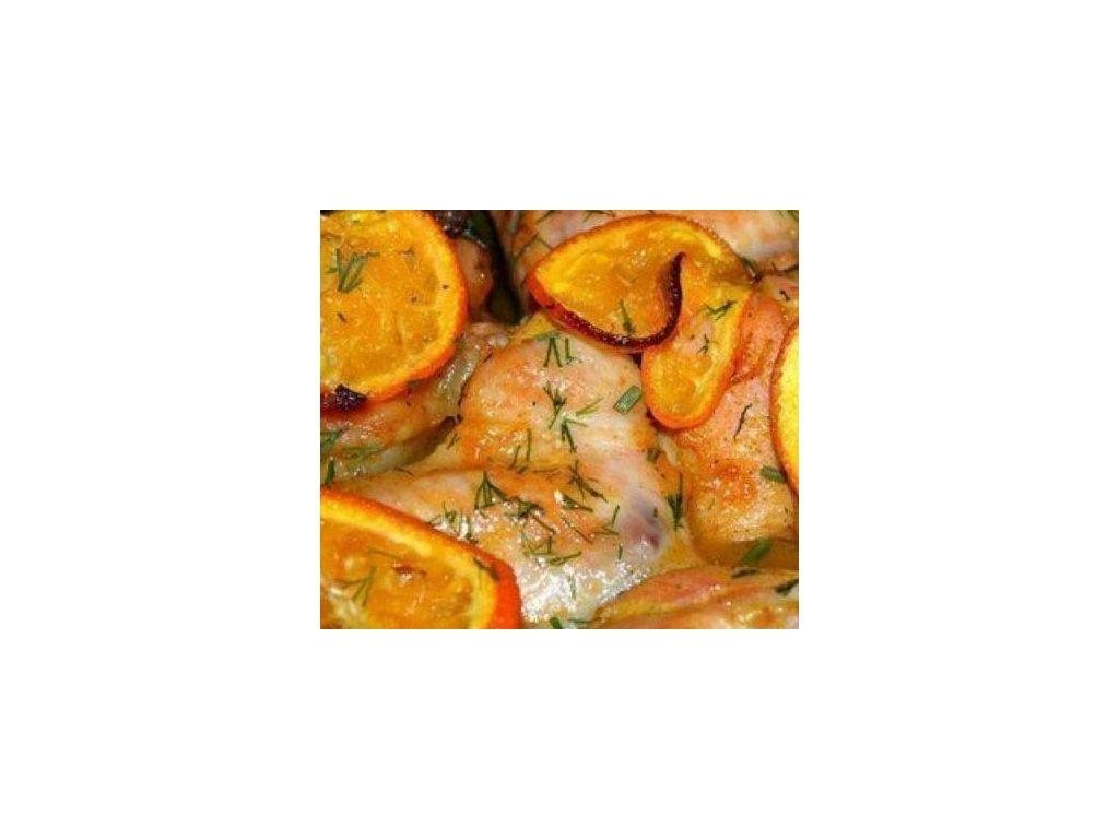 kure na pomerancich a medu