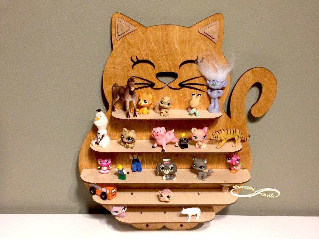 dětská polička na hračky kočka