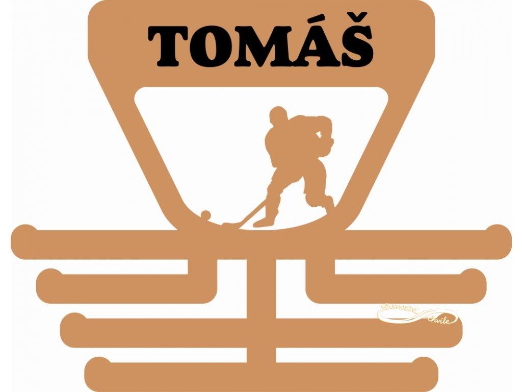 dřevěný věšák na medaile pro hokejbalistu
