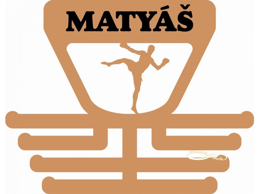 dřevěný držák na medaile pro bojovníka kickboxu