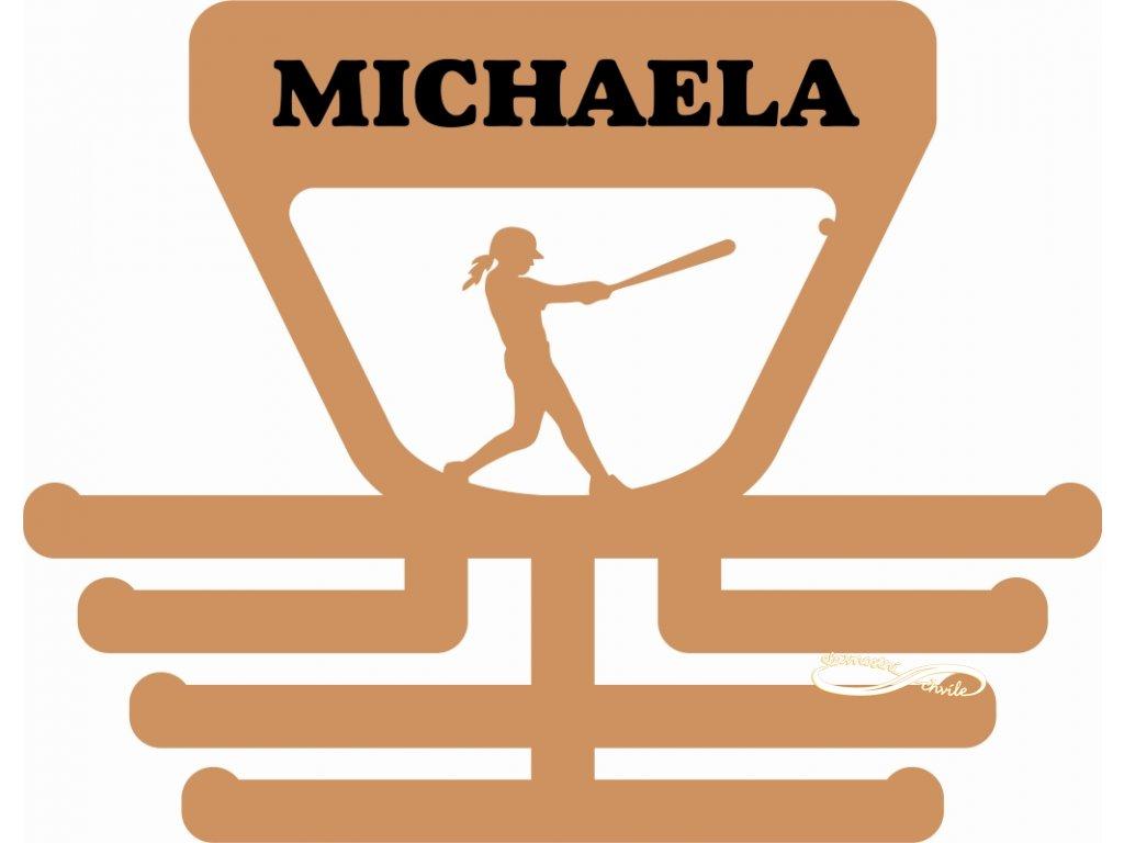 věšák na medaile pro hráčku softbalu pálkařku