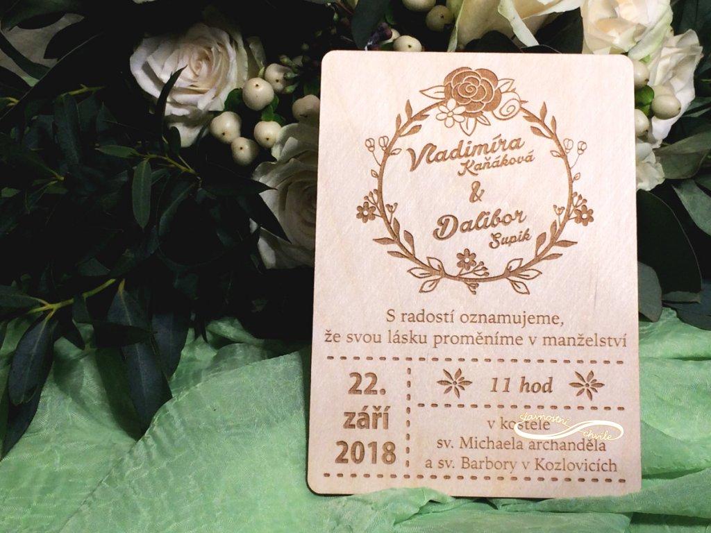 svatební oznamení v rustikálním stylu
