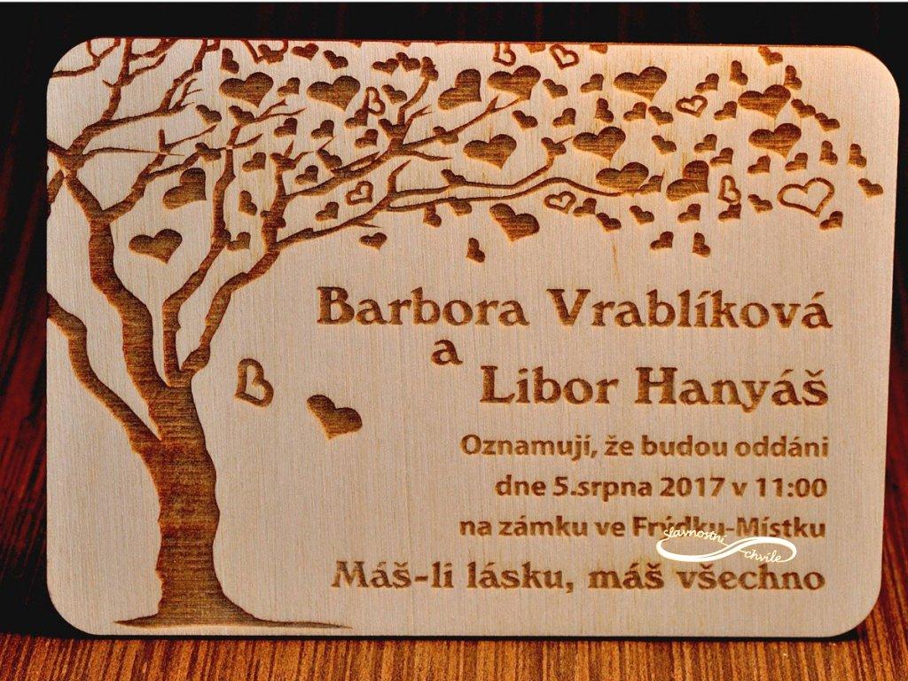 svatební oznamení strom