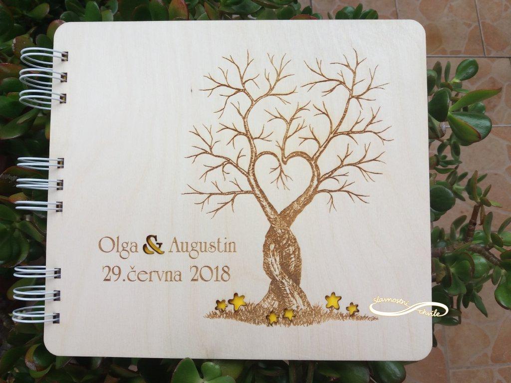 Dřevěná svatební kniha hostů - strom lásky - A4