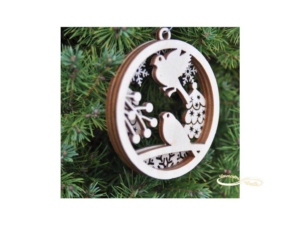 Dřevěná vánoční ozdoba s 3D efektem - motiv sýkorky