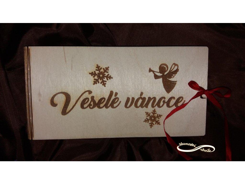 Dřevěná krabička pro darování peněz s motivem anděl