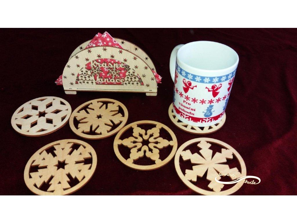 Dřevěné vánoční podtácky