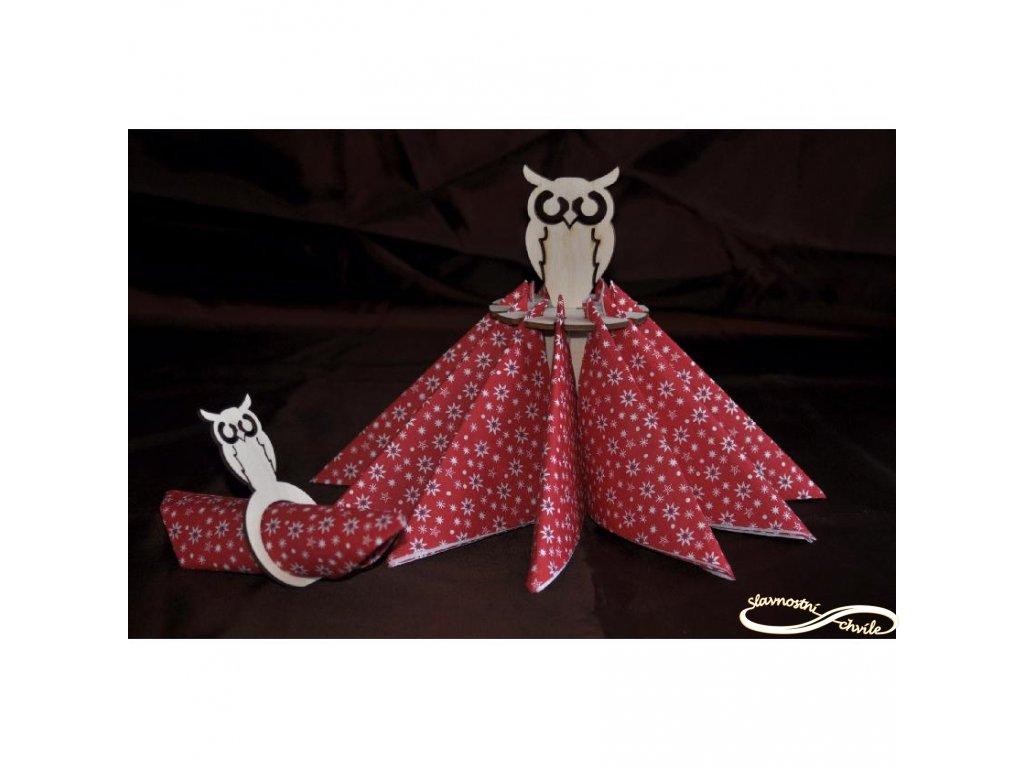 Držák ubrousků se sovičkou - Dekorace na vánoční stůl